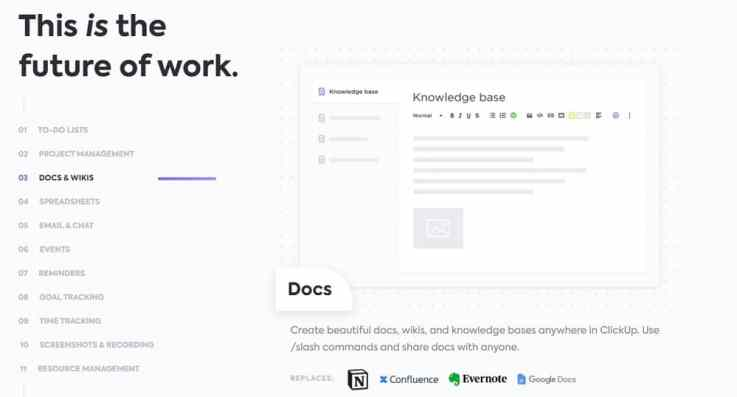 ClickUp Wiki and docs