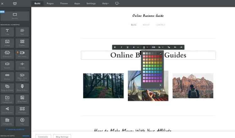 Weebly editor user interface