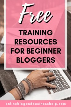 "Woman typing with the text ""Free Training Resources for Beginner Bloggers"""