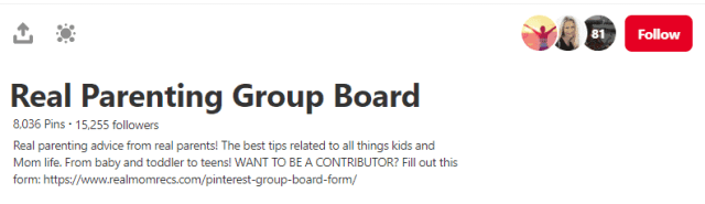 Screenshot of group board rules