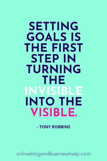 "Image Quote: ""Setting goals is the first step in turning the invisible into the visible."" - Tony Robbins"