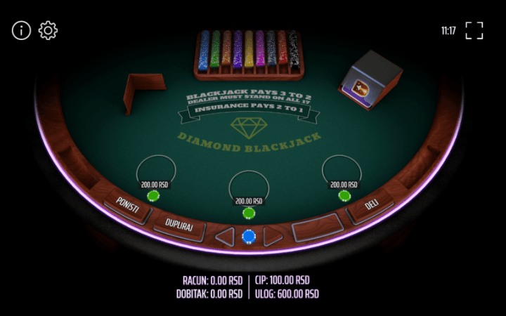 Diamond Blackjack, 3 hands, Mb Games, Expanse, Online Casino Bonus