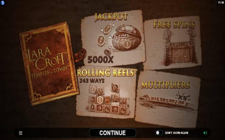 Lara Croft Temples and Tombs, online casino bonus