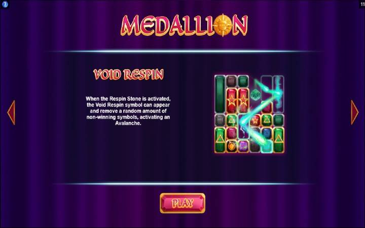 Void respin, Medallion Megaways, Bonus Casino