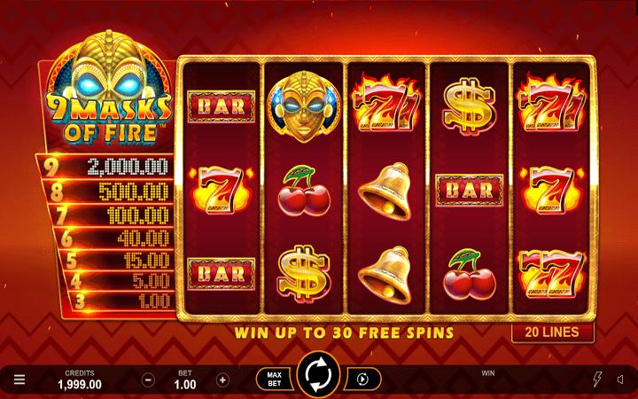 9 Masks of Fire, Microgaming, Online Casino Bonus
