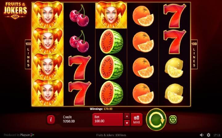 Online Casino Bonus, Fruits and Joker 100 lines