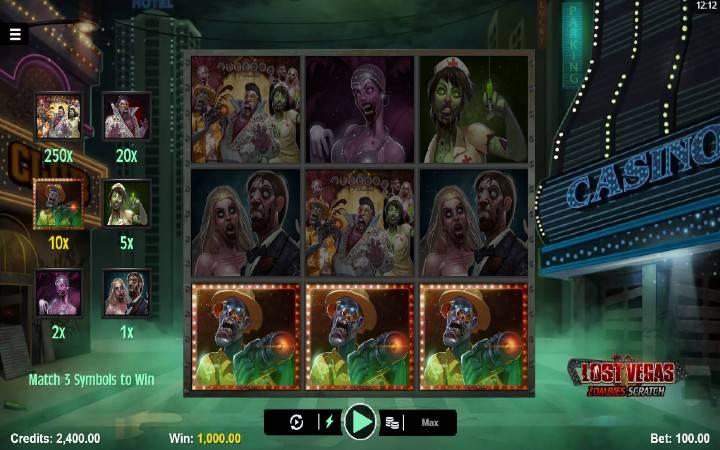 Online Casino Bonus, Lost Vegas Zombies Scratch