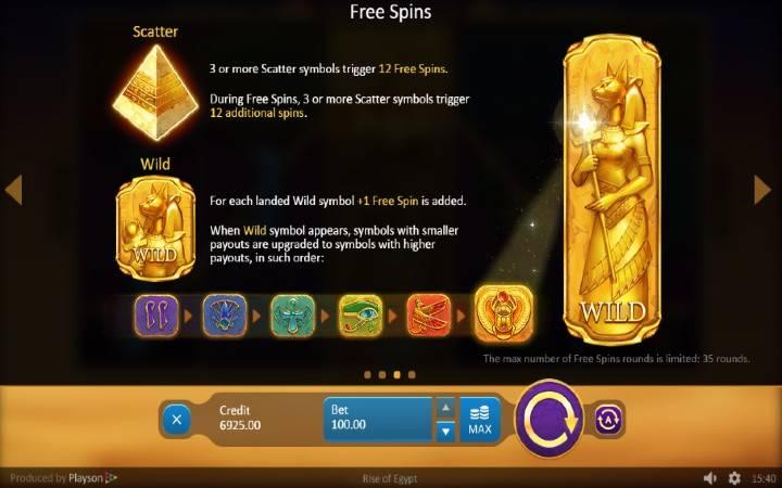 Online Casino bonus, Rise of Egypt