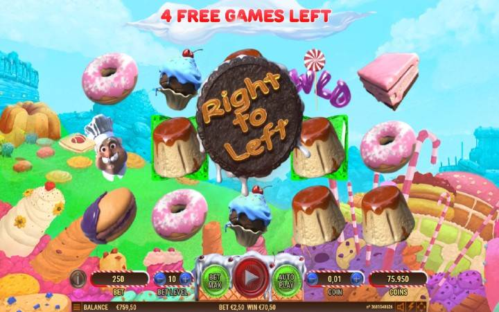 Besplatni spinovi, multiplikator osam, cake valley