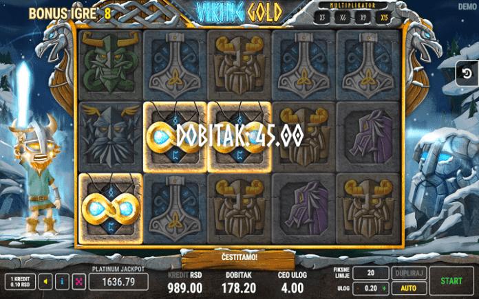 Kaskadne kolone - dobitna kombinacija -  slot Viking Gold