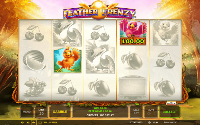 jedan otključan i jedan zaključan simbol-bonus igra-slot Feather Frenzy
