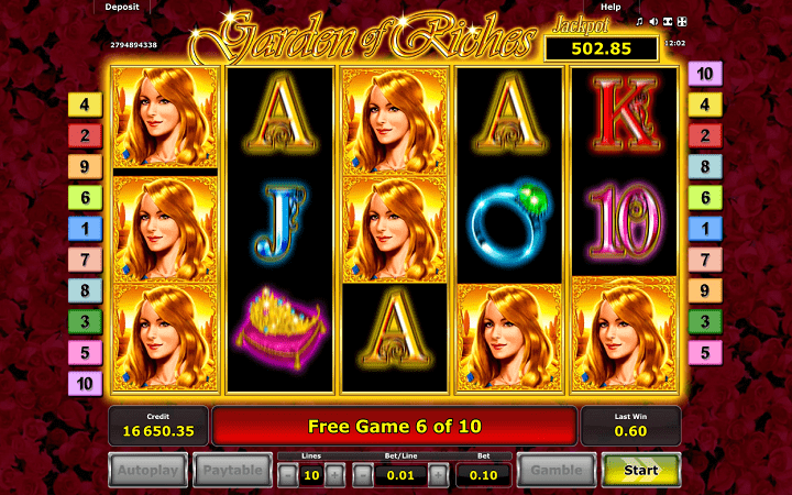Garden of Riches, Novomatic, Greentube, Online Casino Bonus