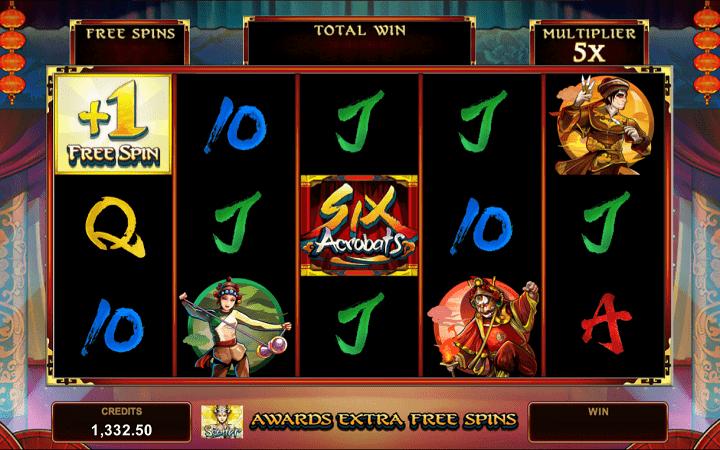 Six Acrobats, Microgaming, Online Casino Bonus