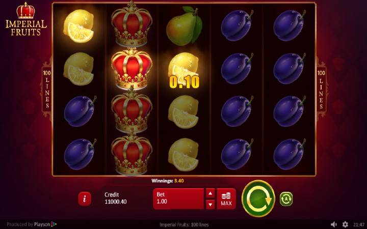 Džokeri, Imerial Fruits: 100 lines, Online Casino Bonus