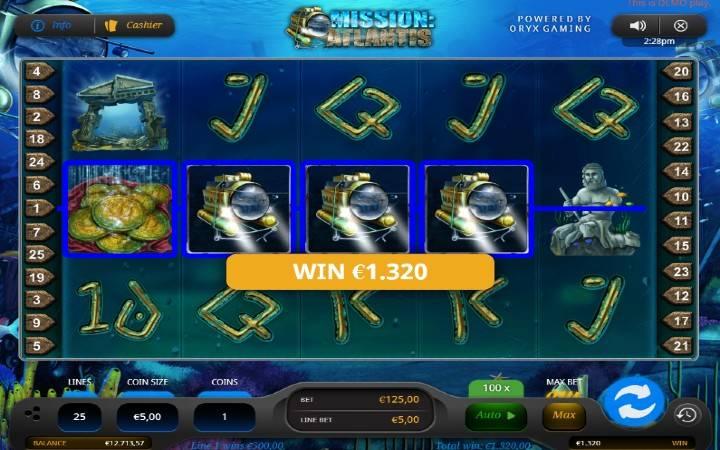 Mission Atlantis, džokeri, Oryx, Online Casino Bonus