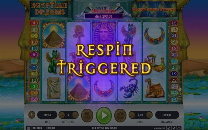 Respin funkcija, Online Casino Bonus, Egyptian Dreams