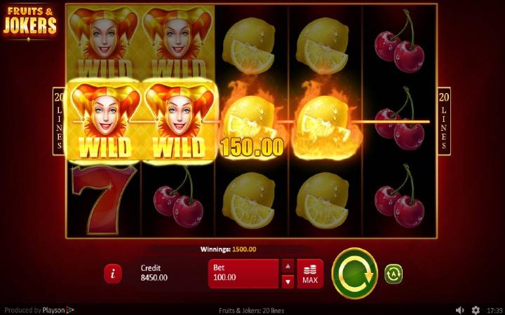 Džoker, Online Casino Bonus, Fruits and Jokers: 20 lines