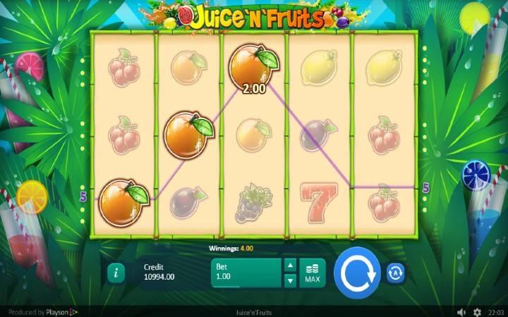 Juice N Fruits, Playson, Online Casino Bonus