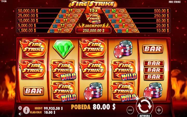 Fire Strike, Online Casino Bonus, džokeri, bonus funkcija