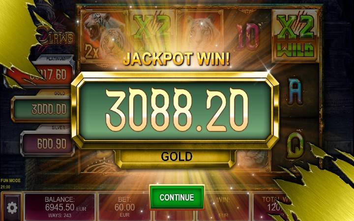 Jackpot, Online Casino Bonus, Tiger Claws