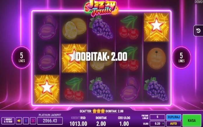 Scatter simbol, Zlatna Zvezda, Online Casino Bonus, Jazzy Fruits