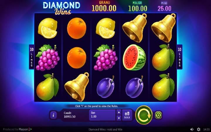 Diamond WIns: Hold and WIn, Online Casino Bonus, Playson
