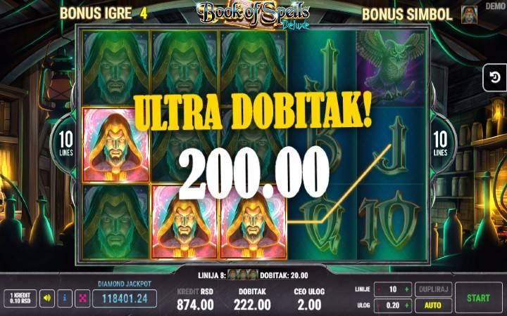 Nikola doživeo trenutak čarolije, Online Casino Bonus, Veliki Dobitak, Book of Spells Deluxe