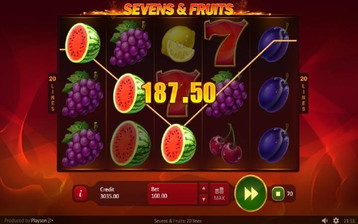 Online Casino Bonus, Klasičan Slot, Sevens and Fruits: 20 lines