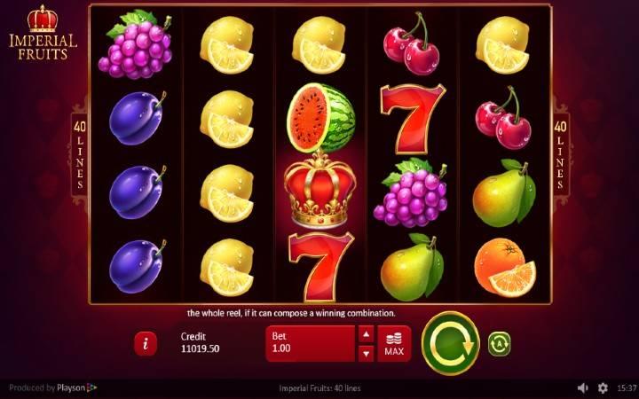 Imperial Fruits: 40 lines, Online Casino Bonus, Playson