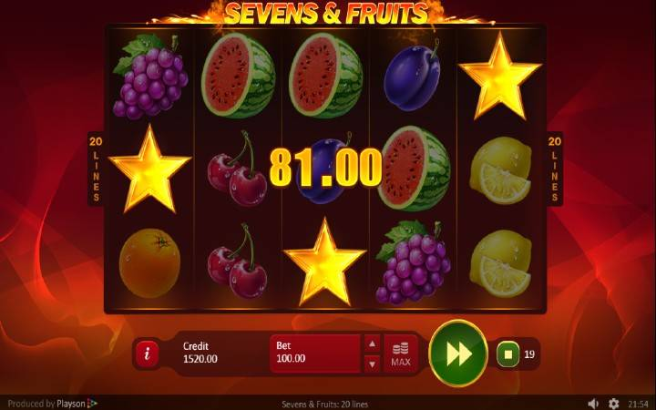 Zlatna Zvezda, Online Casino Bonus, Sevens and Fruits: 20 lines
