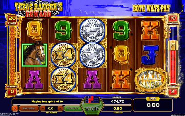 Texas Rangers Reward, GameArt, Online Casino Bonus