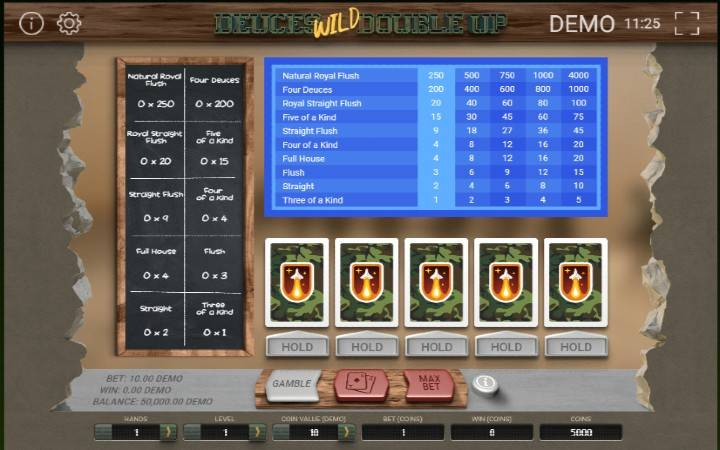 Video poker Deuces Wild Multihand