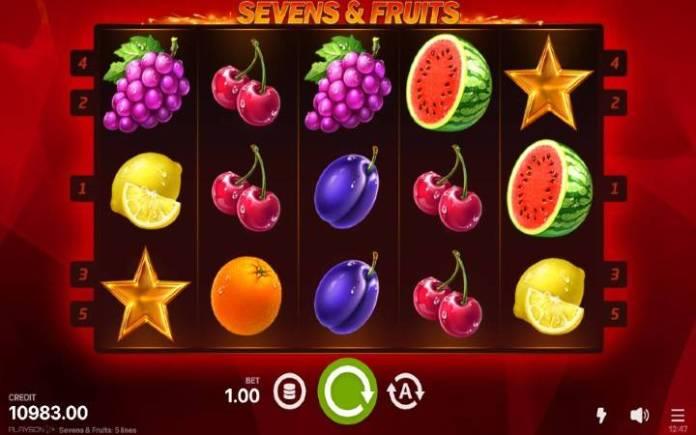 Sevens and Fruits-osnovna igra-playson-online casino bonus