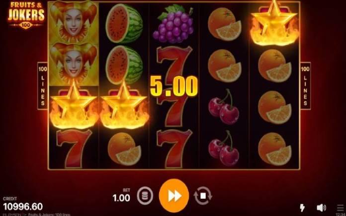 Scatter-online casino bonus-fruits and joker 100 lines-playson