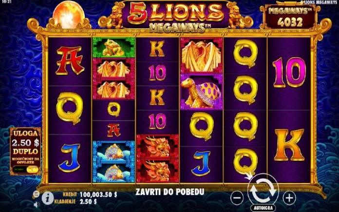 5 Lions Megaways-pragmatic play-osnovna igra-online casino bonus