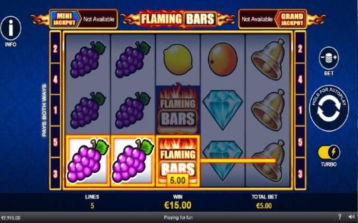 Flaming Bars-džoker-dobitna kombinacija sa džoker simbolom