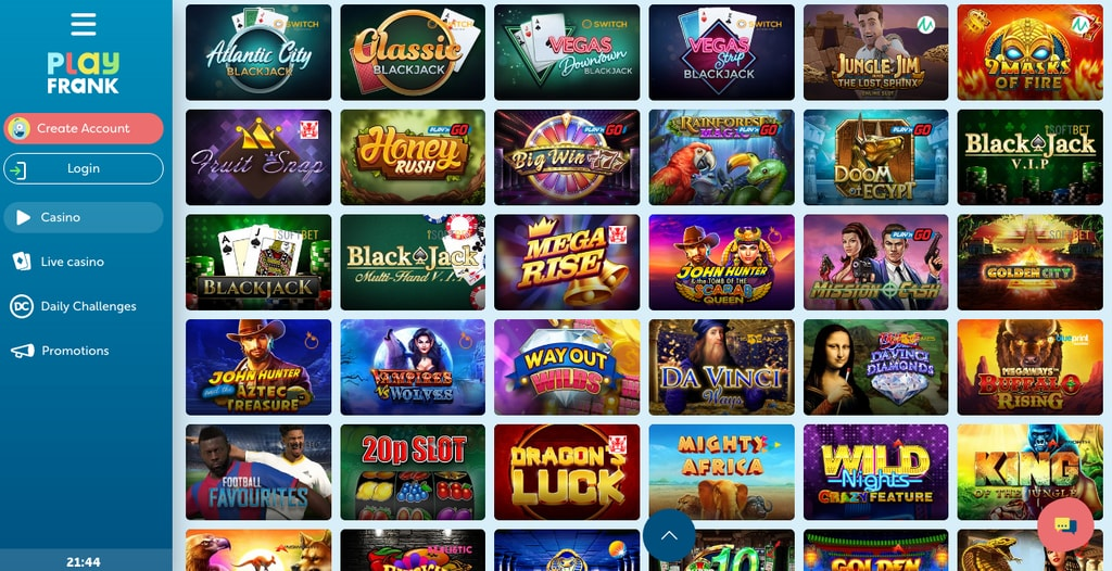 Play Frank Casino Review 100 Welcome Bonus Onlinecasinochase Com