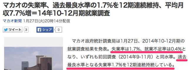 マカオの失業率、過去最良水準の1_7_を12期連続維持、平均月収7_7_増=14年10-12月期就業調査_(マカオ新聞)_-_Yahoo_ニュース
