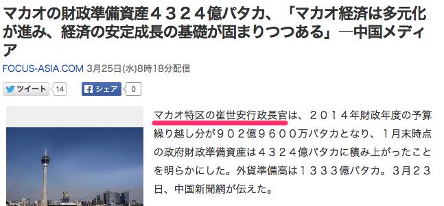 マカオの財政準備資産4324億パタカ、「マカオ経済は多元化が進み、経済の安定成長の基礎が固まりつつある」―中国メディア_(FOCUS-ASIA_COM)_-_Yahoo_ニュース