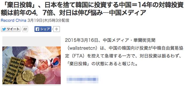「棄日投韓」、日本を捨て韓国に投資する中国=14年の対韓投資額は前年の4.7倍、対日は伸び悩み―中国メディア_(Record_China)_-_Yahoo_ニュース