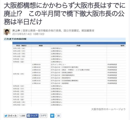 大阪都構想にかかわらず大阪市長はすでに廃止__この半月間で橋下徹大阪市長の公務は半日だけ井上伸