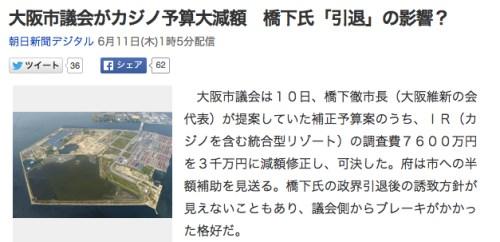 大阪市議会がカジノ予算大減額 橋下氏「引退」の影響?_(朝日新聞デジタル)_-_Yahoo_ニュース