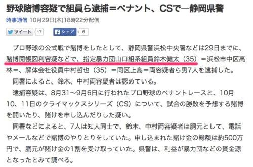 野球賭博容疑で組員ら逮捕=ペナント、CSで―静岡県警_(時事通信)_-_Yahoo_ニュース