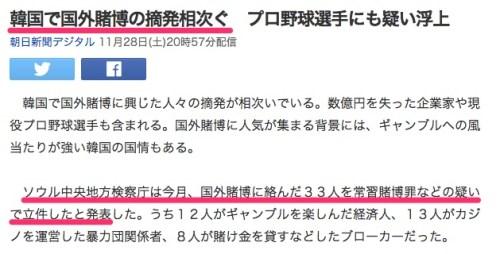 韓国で国外賭博の摘発相次ぐ プロ野球選手にも疑い浮上_(朝日新聞デジタル)_-_Yahoo_ニュース