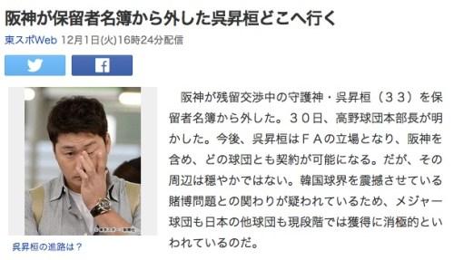阪神が保留者名簿から外した呉昇桓どこへ行く_(東スポWeb)_-_Yahoo_ニュース