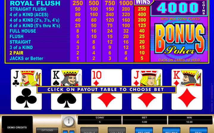 Bonus Poker, Microgaming, Bonus Casino