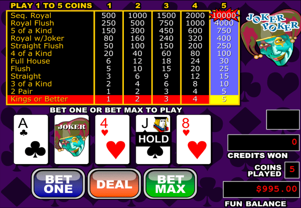 Play Joker Poker Video Poker by RTG for FREE | Online ...