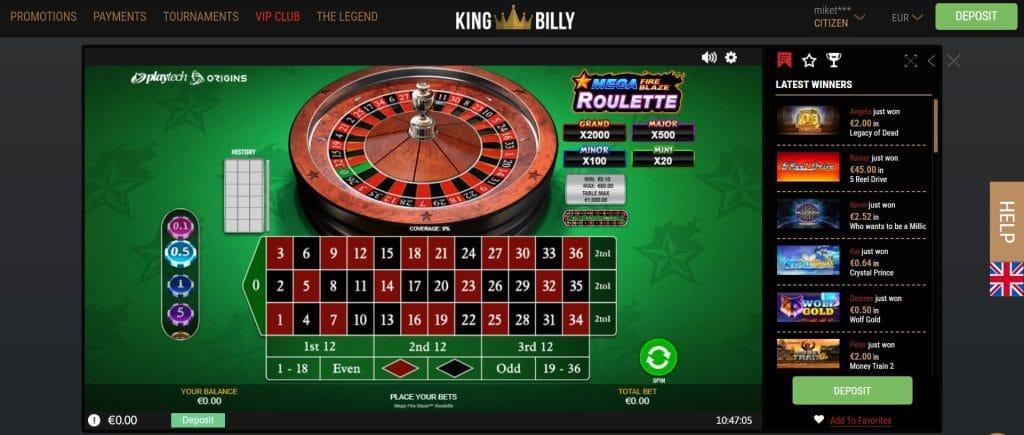 King Billy Casino's Mega Fire Blaze Roulette