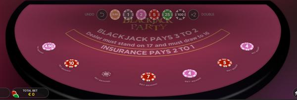 Bij Blackjack Party is het ook mogelijk om sidebets te plaatsen