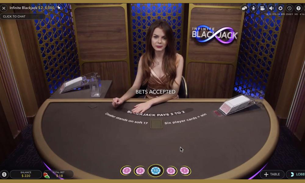 Infinite Blackjack is een unieke live variant uitgebracht door Evolution Gaming